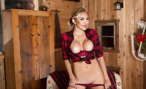 Blond centerfold babe Khloe Terae flashing big tits in boots and work socks
