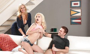 Older and younger blonde pornstars sucking cock eating pussy in threesome