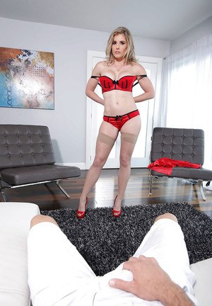 Blonde MILF housewife Cory Chase taking POV cumshot from big cock in hose