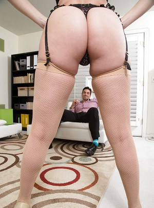 MILF pornstar and wife Dana DeArmond giving hubby bj in stockings