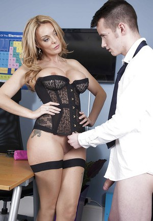 Busty stocking and bodice adorned MILF teacher Stacey Saran taking cumshot