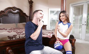 Knee high sock adorned Asian chick Zaya Cassidy taking painful intercourse