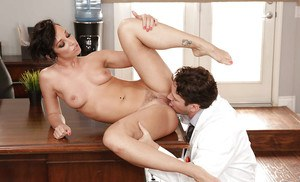 Short haired Jada Stevens taking cumshot from doctor's big cock in office