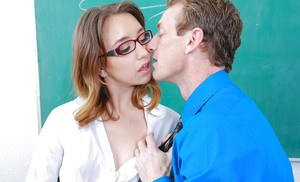 Euro schoolgirl Aurora Belle removes glasses to take cumshot in mouth