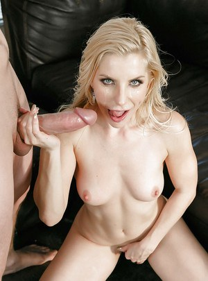 Busty blonde MILF cougar Ashley Fires taking jizz on face after giving bj