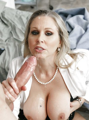 Busty blonde MILF doctor Julia Ann taking facial cumshot in hospital room