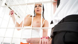 Busty brunette jail cell prisoner Aletta Ocean taking cumshot on face