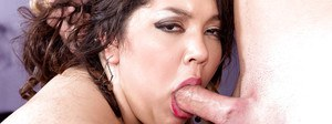 Busty brunette fatty Chevy Cobain licks ball sac and cock for cum on tits