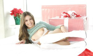 Teen babe Lucy Doll spreading labia lips in stockings at Christmas