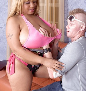 Blonde ebony BBW Lady Snow taking cumshot on massive saggy tits