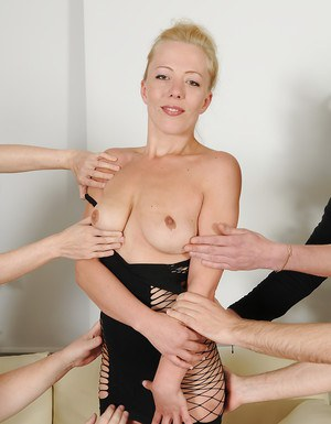 Amateur Euro chick Emma Blond making pornstar debut in gangbang action