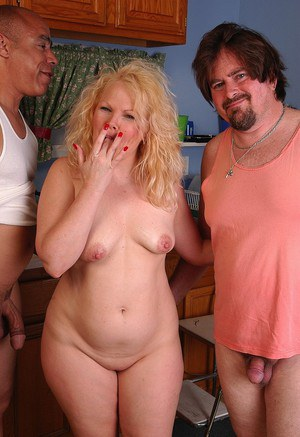 Aged blonde fatty with tiny tits and big ass takes cumshots in MMF threeway