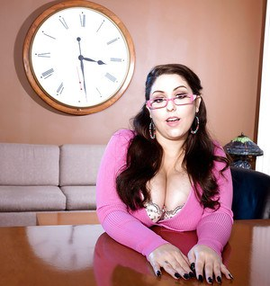 Office fatty Allie Pearson unleashes massive melons in solo girl shoot