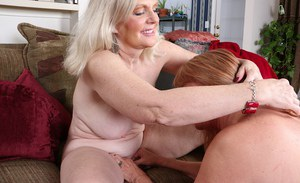 Granny dykes Judy Belkins and Rae Hart fingering shaved vaginas