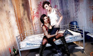 Lesbian fetish pornstars Bonnie Rotten and Nikki Hearts lick and toy twats
