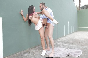 Euro chick Thais Lafuente giving bj outdoors before hardcore big cock fuck