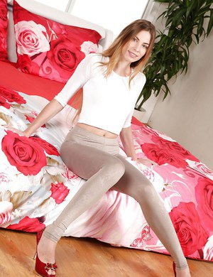 Euro teen Milena Devi sporting pantyhose camel toe before baring tiny tits