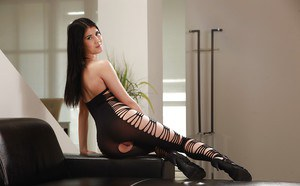 Dark haired European babe Lady Dee strutting in crotchless bodystocking
