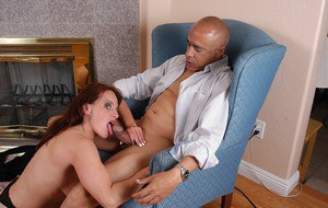 Freckle faced mature redhead taking cumshot on tongue after giving blowjob