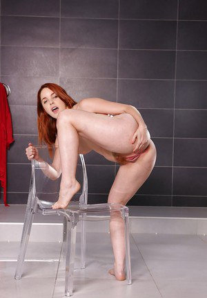 Redheaded European solo girl Amarna Miller licking own pee after pissing