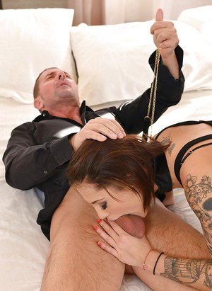 Tattooed Italian fetish enthusiast Nikita Bellucci taking DP in BDSM 3some