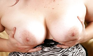 Aged BBW with saggy tits and big butt shows off hairy armpits and pussy