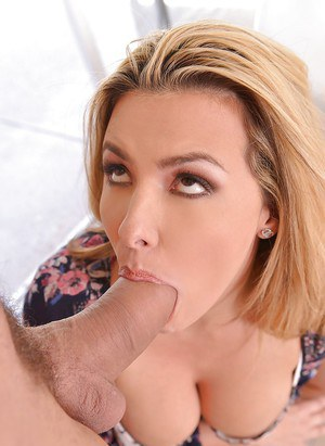 Busty blonde Danica Dillon deepthroating big cock while giving blowjob