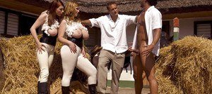 Chesty chick Christy Marks and girlfriend suck and fuck big cocks outdoors