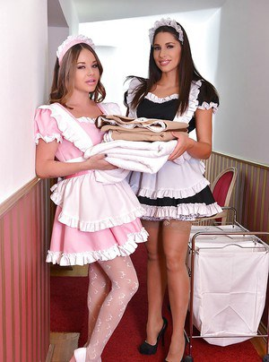 European maids Rachele Richey and Zafira having lesbian sex in stockings