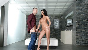 European brunette Vicky Love giving long cock a blowjob in bathroom