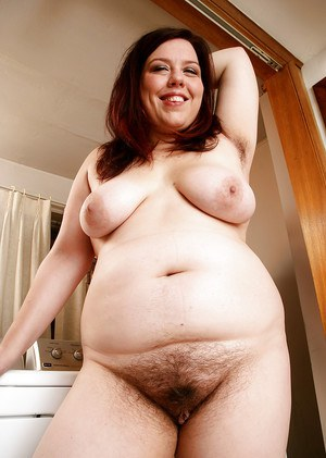 Pantyhose adorned plumper showing off hairy armpits and beaver