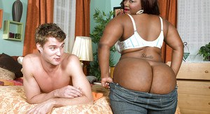 SSBBW Mz Booty unveils massive black booty before giving blowjob