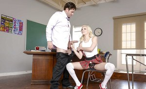 Teen pornstar Elsa Jean fucked in classroom by teacher in schoolgirl outfit