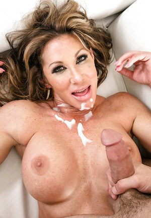 Busty Latina mom Farrah Dahl taking jizz from large cock after hardcore sex