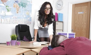 Latina teacher Ava Koxxx frees big cougar juggs before giving student bj