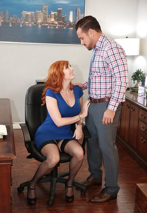 Redhead office worker Lauren Phillips taking anal sex in stockings