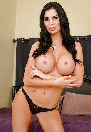 Brunette babe Jasmine Jae sheds dress and lingerie to expose nice melons