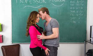 Latina MILF teacher Ariella Ferrera baring big tits before sex in classroom