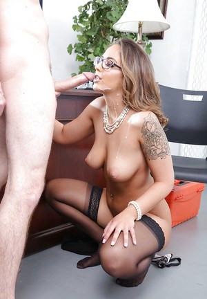 Glasses topped Layla London taking cumshot in mouth from big cock