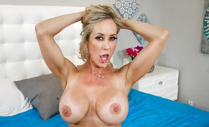 Blonde mom Brandi Love reveals big tits before fucking big cock