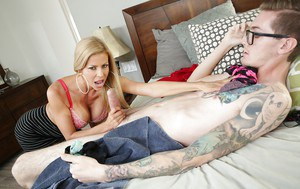 Buxom blonde mom Alexis Fawx giving big cock a tongue licking blowjob