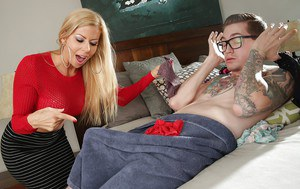 Busty skirt adorned blonde mom Alexis Fawx giving large cock a blowjob