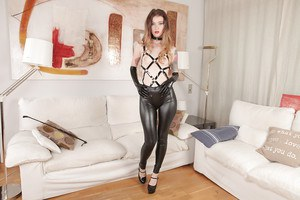 Euro babe Misha Cross and phat ass indulging leather fetish in high heels