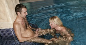 Blonde Euro pornstar taking hardcore banging underwater in swimming pool