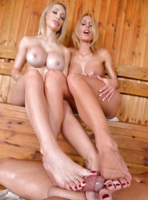 Leggy and busty Euro blondes Chessie Kay and Chelsey Lanette giving footjob