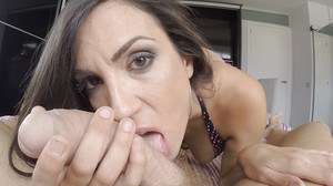 Busty brunette Thais Lafuente giving big cock a blowjob for cum on ass