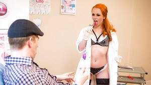 Stocking clad Euro redhead Ella Hughes enjoying hardcore sex with big cock