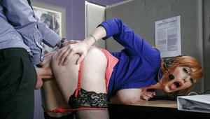 Busty redhead Lauren Phillips taking hardcore office sex in stockings