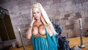 Blonde babe in cosplay outfit reveals big tits and tattoos while stripping