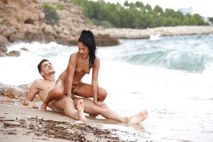 Brunette beach bunny with tiny tits riding big cock to cumshot outdoors